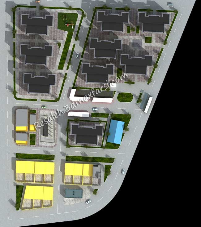 سایت پلان معماری مجتمع، شهرک مسکونی