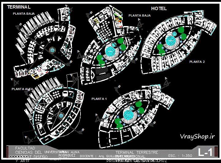 دانلود رایگان نمونه مشابه نقشه اتوکد رساله ترمينال مسافربری