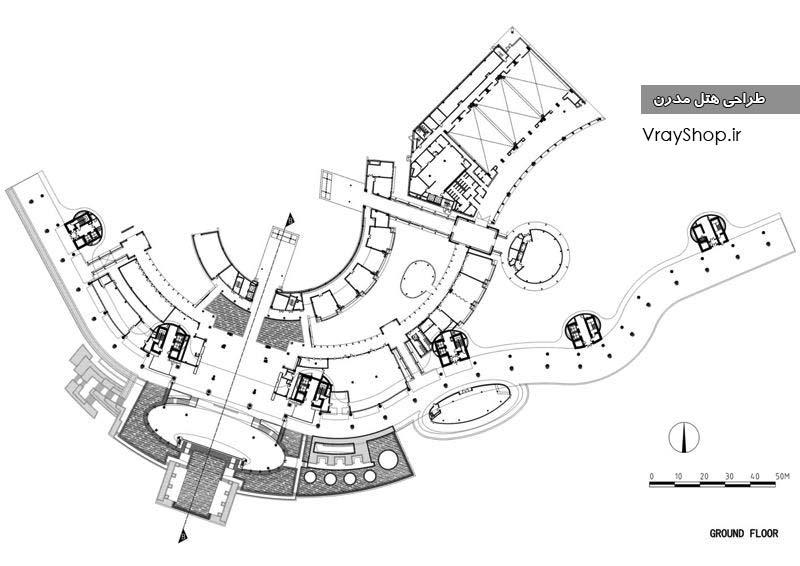 پلان جدول ریز فضاهای هتل لیست فضاهای هتل